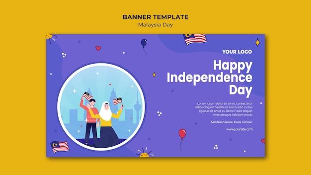 Feliz dia da independência povo malaio banner web template