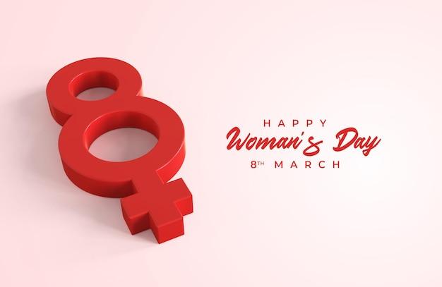 Feliz dia da mulher com 3d oito e símbolo de gênero feminino