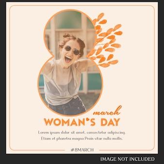 Feliz dia da mulher e 8 de março saudação instagram post template
