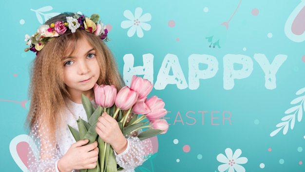 Feliz dia da páscoa maquete com menina e flores