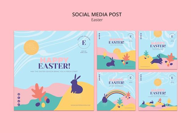 Feliz dia da páscoa posts de mídia social
