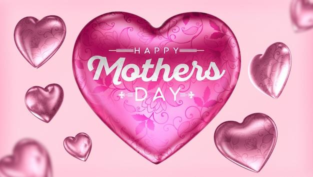 Feliz dia das mães com corações para composição