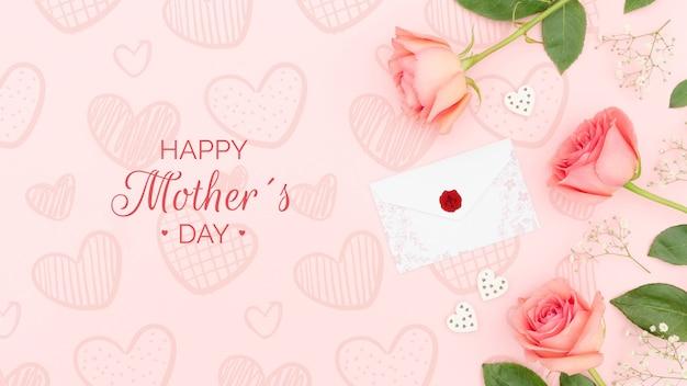 Feliz dia das mães com rosas e envelope