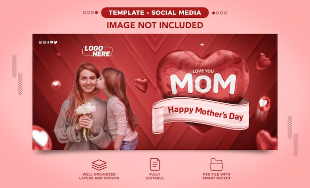 Feliz dia das mães modelo de mídia social do facebook para a composição do coração