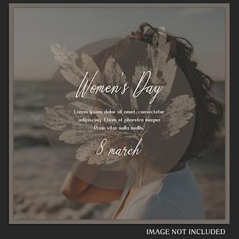 Feliz dia das mulheres e 8 de março saudação instagram post template