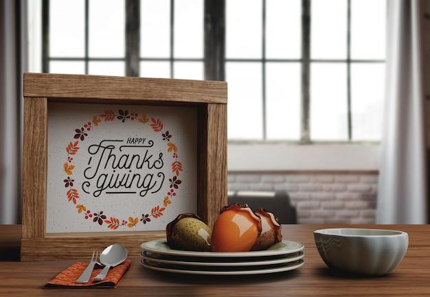 Feliz dia de ação de graças mensagem no quadro