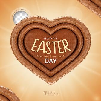 Feliz dia de páscoa em forma de coração com renderização 3d realista de chocolate