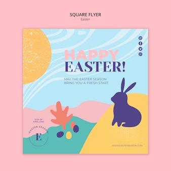 Feliz dia de páscoa panfleto quadrado com coelho ilustrado