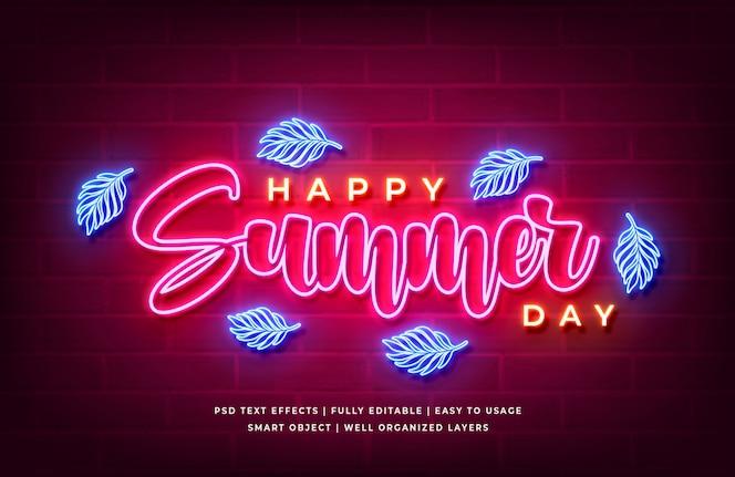 Feliz dia de verão efeito de estilo de texto