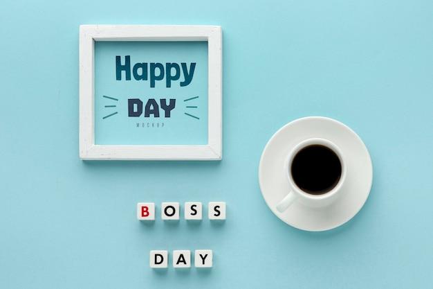 Feliz dia do chefe com moldura e café