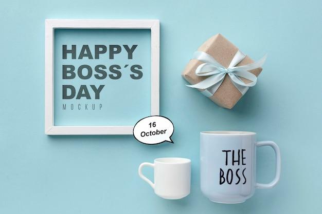 Feliz dia do chefe com moldura e presente