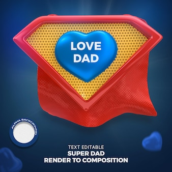 Feliz dia do pai, super pai renderização 3d isolada