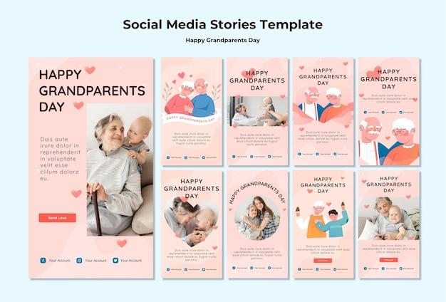 Feliz dia dos avós histórias de mídia social