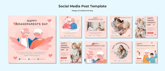 Feliz dia dos avós post de mídia social