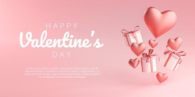 Feliz dia dos namorados banner cartão com formato de coração e caixa de presente flying 3d rendering