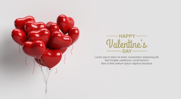 Feliz dia dos namorados com maquete de balões de amor vermelhos