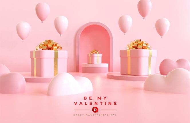 Feliz dia dos namorados maquete de banner com composição criativa romântica em 3d