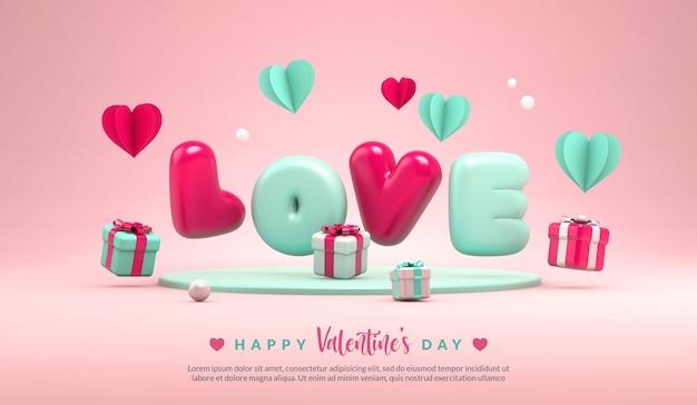 Feliz dia dos namorados modelo de banner de saudação com a palavra amor em renderização 3d