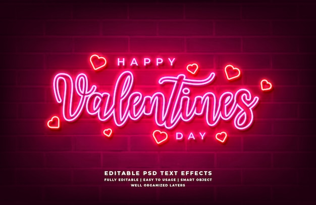 Feliz dia dos namorados néon efeito de estilo de texto 3d