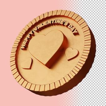 Feliz dia dos namorados, renderização em 3d, maquete ou emblema circular em negrito