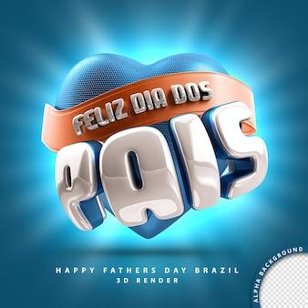 Feliz dia dos pais brasil renderização de selo 3d