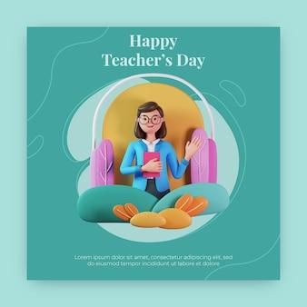 Feliz dia dos professores postagem no instagram com personagem renderização em 3d