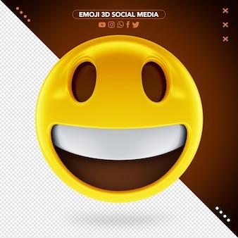 Feliz emoji 3d com rosto alegre e um sorriso aberto