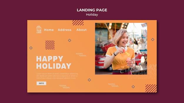 Feliz feriado na página de destino de um dia ensolarado