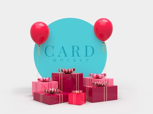 Feliz festa de comemoração do dia dos namorados com enfeites de caixa de presente