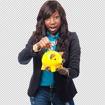 Feliz mulher negra com mealheiro