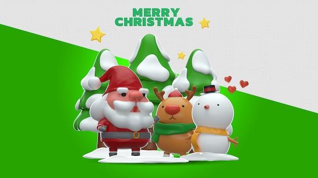 Feliz natal 3d renderização mockup design
