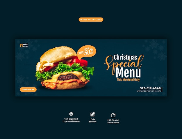 Feliz natal, delicioso hambúrguer e menu de comida, modelo de capa do facebook Psd Premium