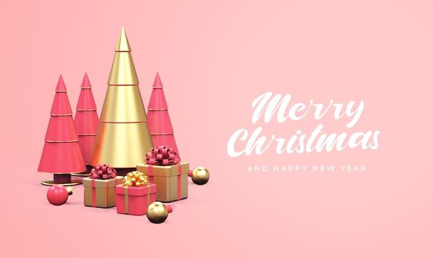 Feliz natal e feliz ano novo com pinheiros, caixas de presente e maquete de bolas de natal