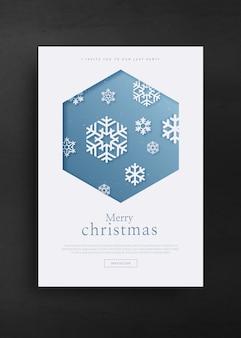 Feliz natal e feliz ano novo modelo de cartão de saudação