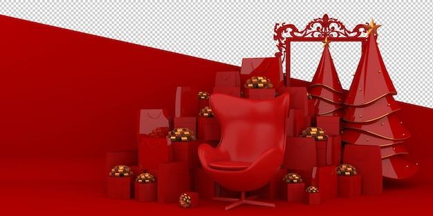 Feliz natal e feliz ano novo renderização 3d