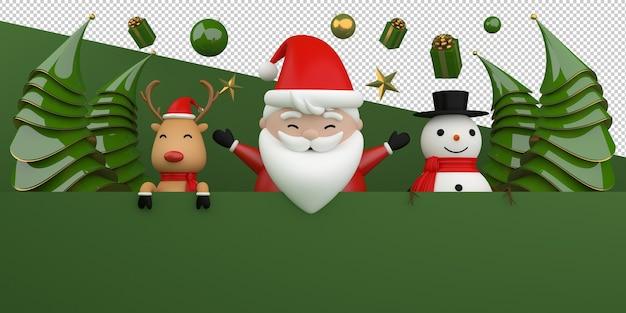 Feliz natal e feliz ano novo. renderização 3d