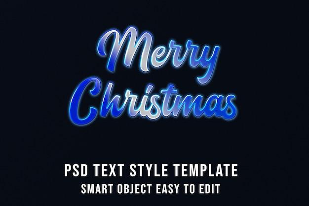 Feliz natal em efeito de texto azul frio