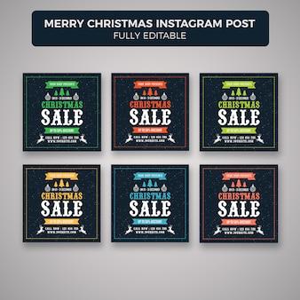 Feliz natal instagram post banner modelo