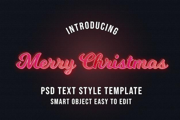 Feliz natal neon efeitos de texto 3d