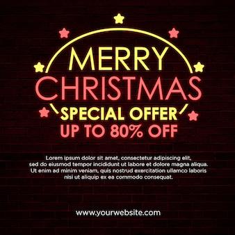 Feliz natal oferta especial banner quadrado