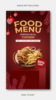 Feliz natal post de comida no instagram e menu de comida premium psd