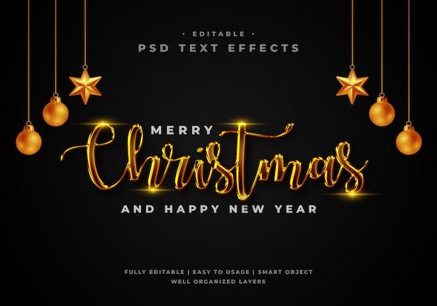 Feliz natal texto estilo efeito modelo