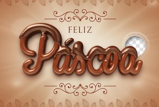 Feliz páscoa 3d render em chocolate brasileiro
