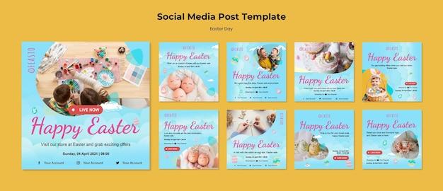Feliz páscoa conjunto de postagens nas redes sociais