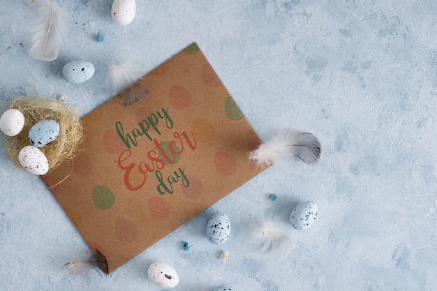 Feliz páscoa dia cartão maquete
