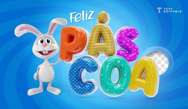 Feliz páscoa no brasil, renderização 3d com coelho