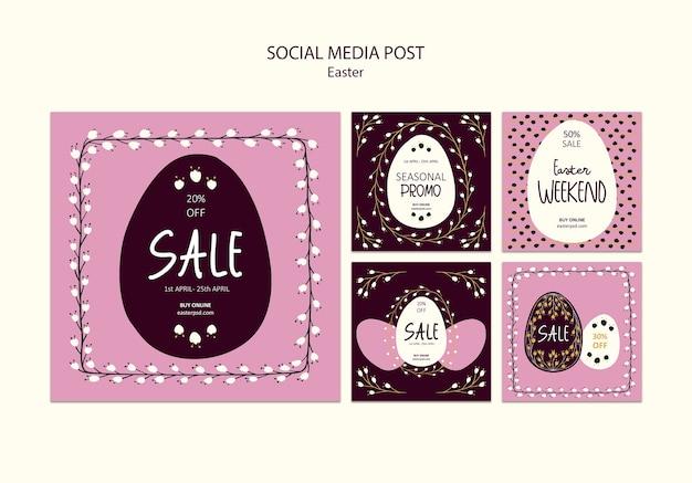 Feliz páscoa vendas mídia social post