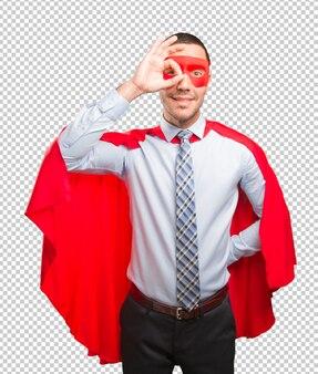 Feliz, super, homem negócios, fazendo, um, busca, gesto