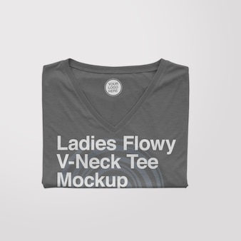 Feminino flowy vneck folded tee mockup