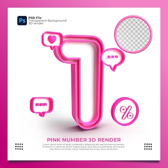 Feminino número 1 3d render cor rosa